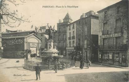 """CPA FRANCE 34 """" Pézénas, Place de la République""""."""
