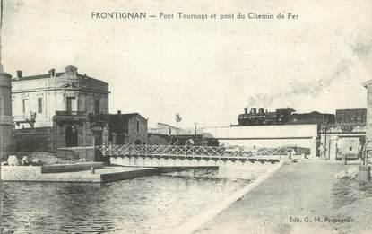"""CPA FRANCE 34 """" Frontignan, Pont tournant et pont du chemin de fer""""."""