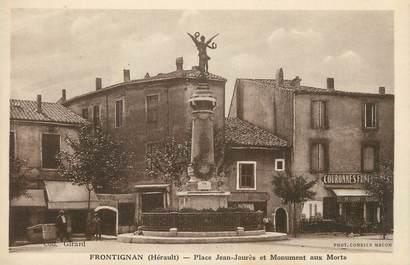 """CPA FRANCE 34 """" Frontignan, Place Jean Jaurès et le monument aux morts""""."""