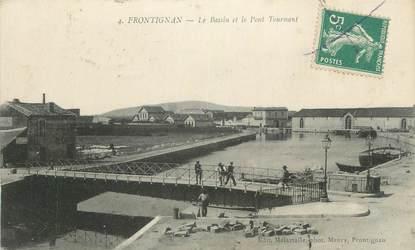 """CPA FRANCE 34 """" Frontignan, Le bassin et le pont tournant""""."""