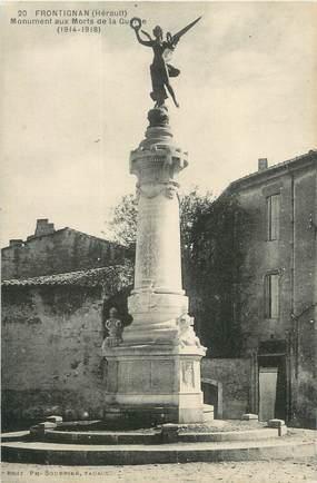 "CPA FRANCE 34 "" Frontignan, Le monument aux morts""."