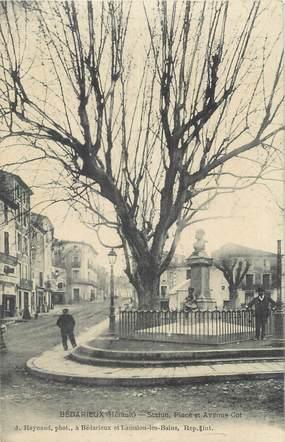 """CPA FRANCE 34 """" Bédarieux, Statue Place et Avenue Cot""""."""