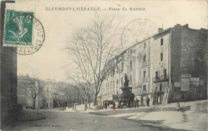 """CPA FRANCE 34 """" Clermont L'Hérault, Place du marché""""."""