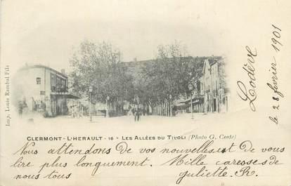 """CPA FRANCE 34 """" Clermont L'Hérault, Les allées du Tivoli""""."""