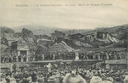 """CPA FRANCE 34 """" Béziers, Le premier Glaive, Mort de Vargas"""". / THEATRE"""