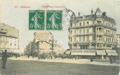 """CPA FRANCE 34 """" Béziers, Place de la République""""."""
