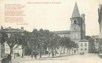 """CPA FRANCE 34 """" Béziers, L'église de la Madeleine"""". / POETE"""