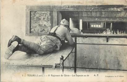 """CPA FRANCE 37 """" Tours, 8ème régiment de génie, Les sapeurs au tir""""."""