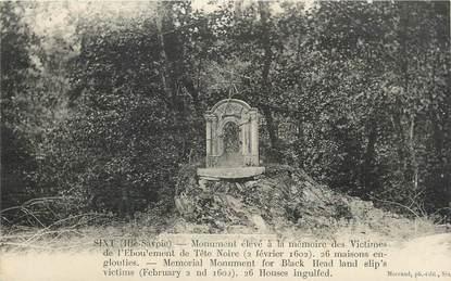 """CPA FRANCE 74 """" Sixt, Monument élevé à la mémoire des victimes de l'éboulement de Tête Noire""""."""