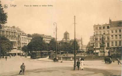 """CPA BELGIQUE """"Liège, Place du Théâtre et statue Grétry"""""""