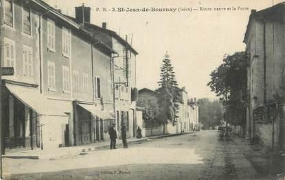 """CPA FRANCE 38 """" St Jean de Bournay, Route neuve et la Poste""""."""