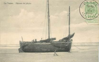 """CPA BELGIQUE """"La Panne, Bateau de pêche"""""""