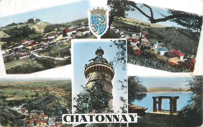 """CPSM FRANCE 38 """" Châtonnay, Vues""""."""