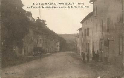 """CPA FRANCE 38 """" Auberives de Roussillon, La Poste et une partie de la Grande Rue""""."""