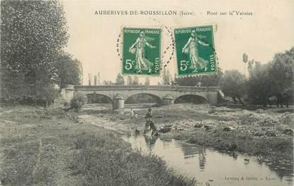 """CPA FRANCE 38 """" Auberives de Roussillon, Pont sur la Varaize""""."""