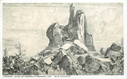 """CPA BELGIQUE """"Nieuport, la Tour des Templiers, 1916"""" / ILL. Wagemans"""