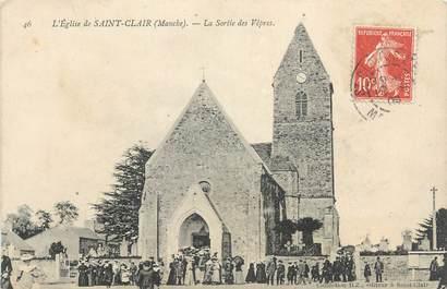 """CPA FRANCE 50 """"St Clair, L'église, la sortie des Vêpres""""."""