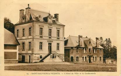 """CPA FRANCE 50 """"St Sauveur le Vicomte, L'Hôtel de Ville et la Gendarmerie"""";"""
