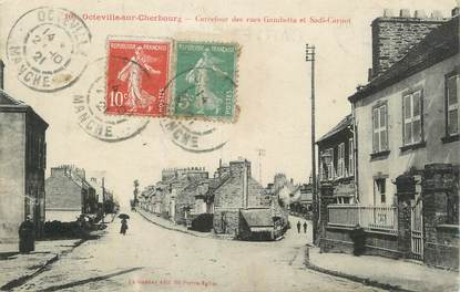 "CPA FRANCE 50 ""Octeville sur Cherbourg, Carrefour des rues Gambetta et Sadi Carnot""."