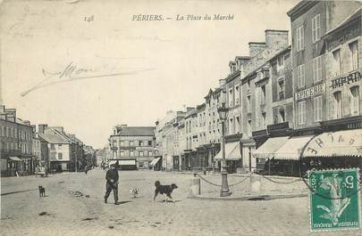 """CPA FRANCE 50 """"Périers, La place du marché""""."""