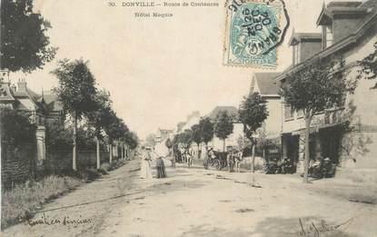 """CPA FRANCE 50 """" Donville, Route de Coutances, Hôtel Mequin""""."""