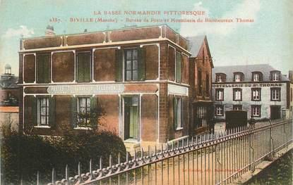 """CPA FRANCE 50 """" Biville, Bureau de Poste et Hostellerie du Bienheureux Thomas""""."""