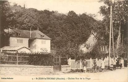 """CPA FRANCE 50 """" St Jean Le Thomas, Chalets rue de la plage""""."""