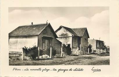 """CPSM FRANCE 50 """" Pirou, La nouvelle plage, un groupe de chalets""""."""