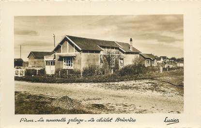 """CPSM FRANCE 50 """" Pirou, La nouvelle plage, le chalet Briovère""""."""