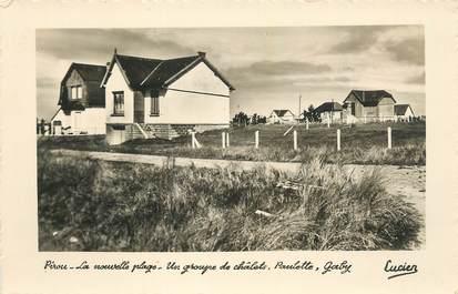 """CPSM FRANCE 50 """" Pirou la nouvelle plage, un groupe de chalets""""."""