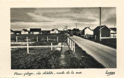 """CPSM FRANCE 50 """" Pirou Plage, Les chalets route de la mer""""."""
