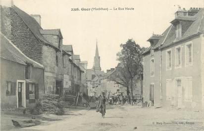 """CPA FRANCE 56 """" Guer, La rue haute""""."""