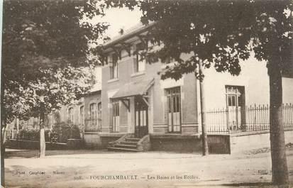 """CPA FRANCE 58 """" Fourchambault, Les bains et les écoles""""."""