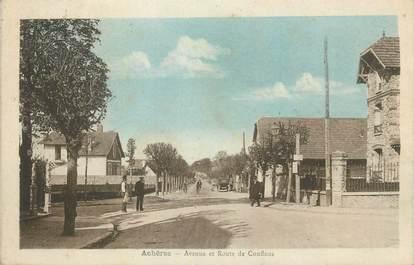 """CPA FRANCE 78 """" Achères, Avenue et route de Conflans""""."""