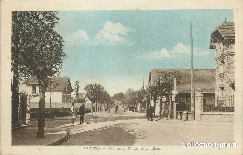 Cpa france 78 ach res avenue et route de conflans for Garage des communes acheres