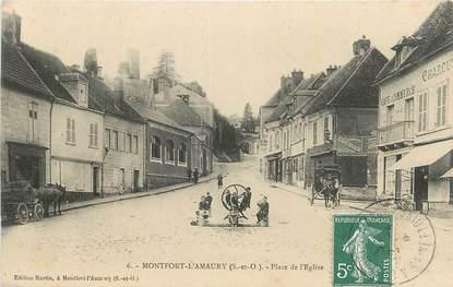 """CPA FRANCE 78 """" Montfort L'Amaury, Place de l'église""""."""