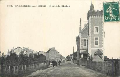 """CPA FRANCE 78 """" Carrières sur Seine, Route de Chatou""""."""
