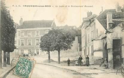 """CPA FRANCE 78 """"Carrières sous Bois, Le Logis et le Restaurant Roussel""""."""