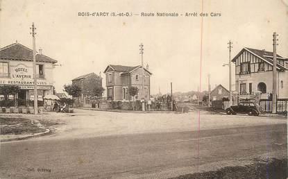 """CPA FRANCE 78 """"Bois d'Arcy, Route Nationale, arrêt des cars""""."""