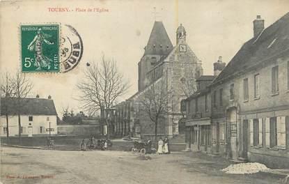 """CPA FRANCE 27 """" Tourny, Place de l'église""""."""