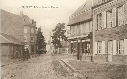 """CPA FRANCE 27 """" Thiberville, Route de Lisieux""""."""