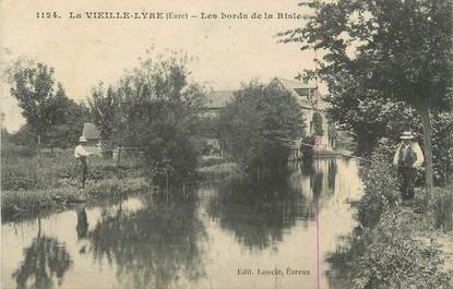 """CPA FRANCE 27 """" La Vieille Lyre, Les bords de la Risle""""."""