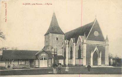 """CPA FRANCE 27 """" St Just, L'église""""."""