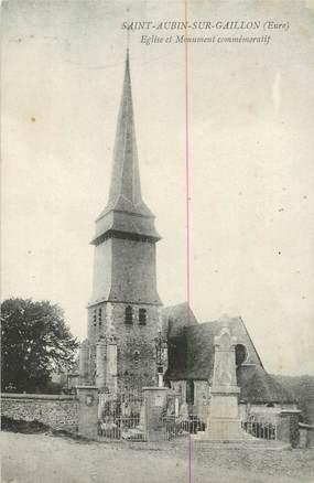 """CPA FRANCE 27 """" St Aubin sur Gaillon, Eglise et monument commémoratif''."""