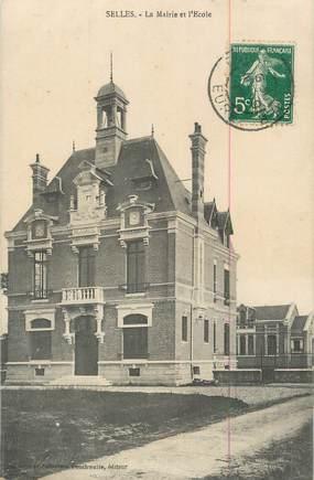 """CPA FRANCE 27 """" Selles, La Mairie et l'école""""."""