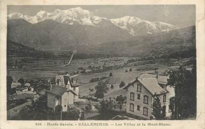 """CPA FRANCE 74 """" Sallanches, Les villas et le Mont Blanc'."""