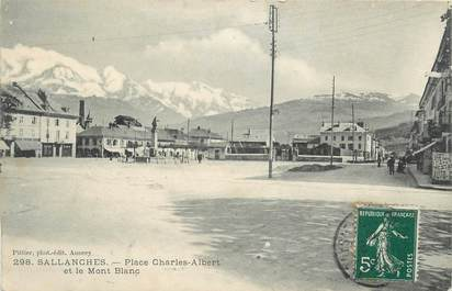 """CPA FRANCE 74 """" Sallanches, Place Charles Albert""""."""