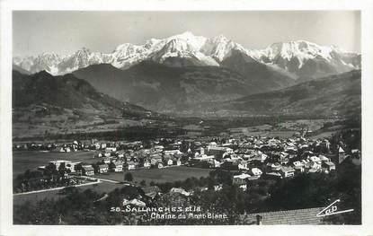 """CPSM FRANCE 74 """" Sallanches, La chaîne du Mont Blanc""""."""