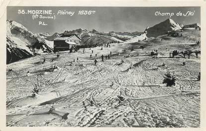 """CPSM FRANCE 74 """" Morzine, Pléney, Champ de ski""""."""