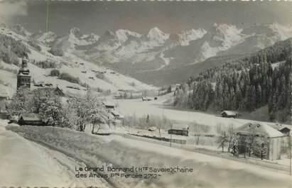 """CPSM FRANCE 74 """" Le Grand Bornand, Chaîne des Aravis""""."""